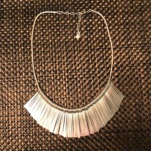Silver fringe necklace.